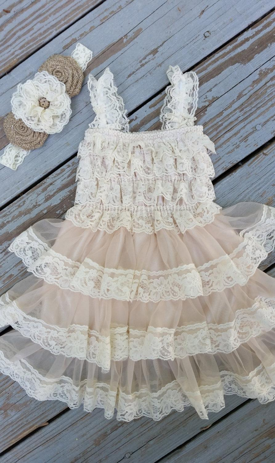 Свадьба - Rustic Flower Girl Lace Dress Pettidress-Rustic Flower Girl Dress-Champagne Flower Girl/Country Wedding-Shabby Chic Wedding