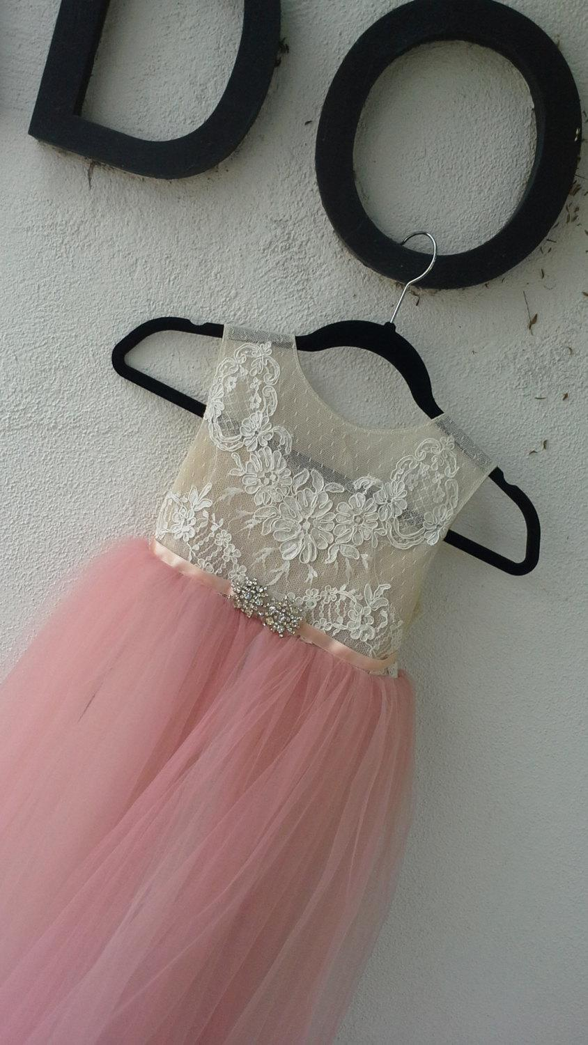 Mariage - Stunning flower girl dress 'Annabella' with dusty pink tulle skirt , nude/ tan sheer bodice, French lace, birthday girl dress, fairy dress
