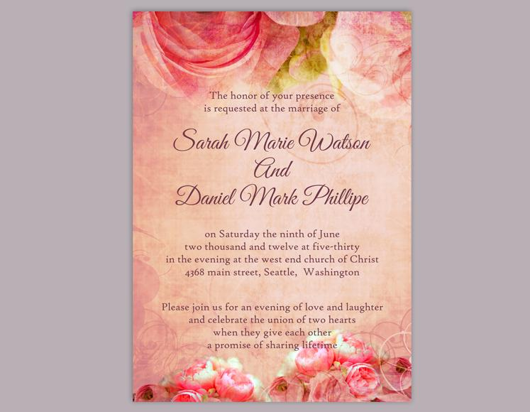 diy rustic wedding invitation template editable word file download printable vintage invitation boho wedding invitation peonies invitation
