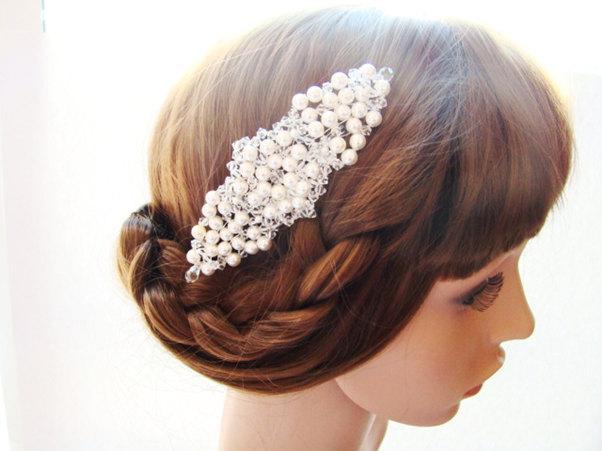 Свадьба - Swarovski Pearl Hair Comb, Bridal Hair Comb, Crystal Hair Comb, Pearl Wedding Hair Comb, Pearl Headpiece, Pearl Hair Accessories - CELIA