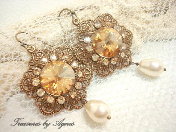 Wedding - Bridal earrings, vintage style earrings, wedding jewelry, antique brass with golden shadow crystals, bridesmaid