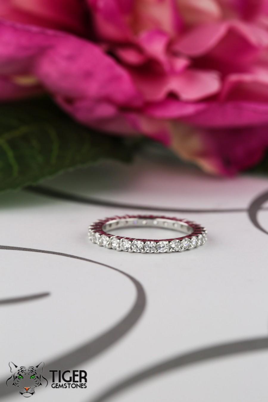 زفاف - 1 ctw Eternity Band, 2mm Wedding Band, Engagement Ring, Man Made Diamond Simulant, Bridal Ring, Sterling Silver, Promise Ring, Stacking Ring