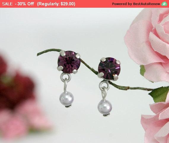 Hochzeit - 30% SALE Purple stud earrings, Purple earrings, Stud earrings, Purple wedding, Wedding stud, Wedding earrings, Crystal stud earrings