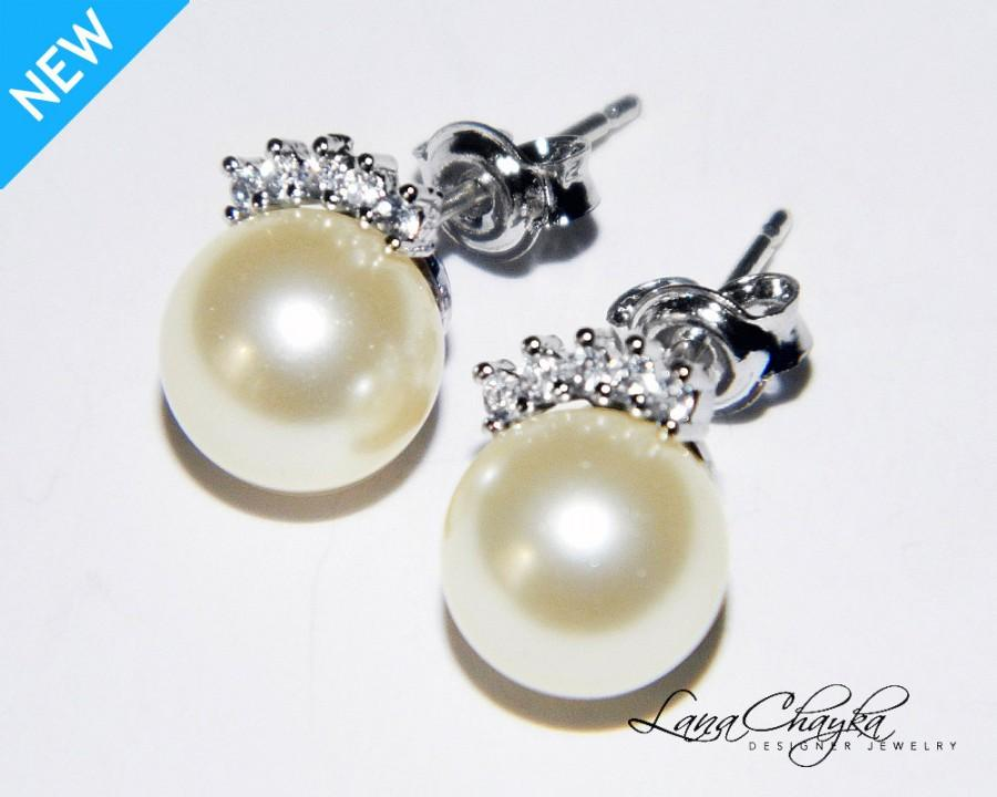 Ivory Pearl Stud Earrings Cz Small Bridal Swarovski Sterling Silver Posts Wedding Jewelry
