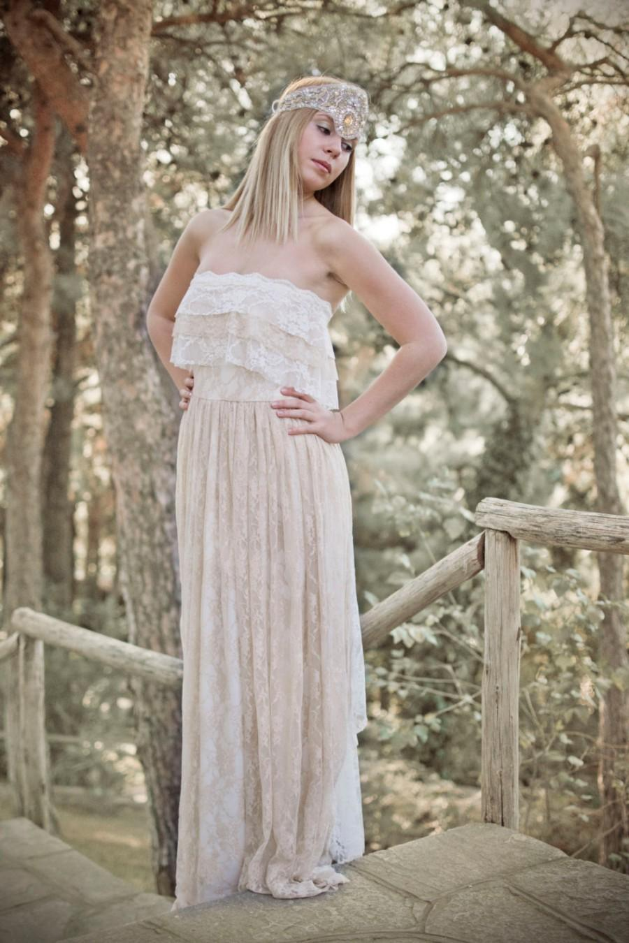 Boho Wedding Dress, Cream Wedding Dress, Lace Wedding Dress ...