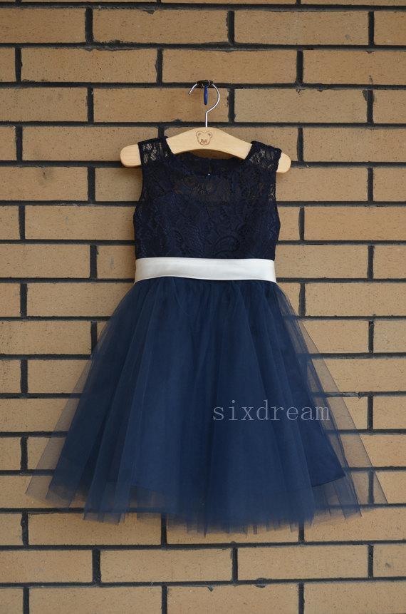 Свадьба - Navy Lace  Flower Girl Dress ivory sash/bow Country Wedding Baby Girls Dress Tulle Rustic Baby Birthday Dress