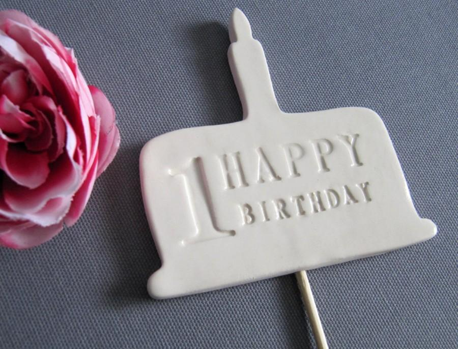 Mariage - 1st Birthday Cake Topper - White