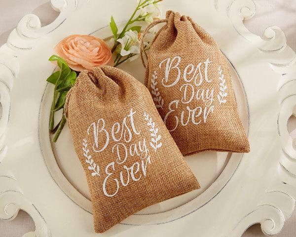 Mariage - 12 Burlap Favor Bags Best Day Ever Burlap Drawstring Favor Bags Wedding Favor Bags
