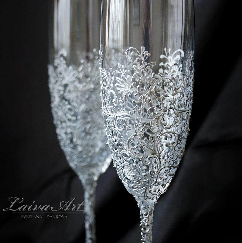 Wedding Champagne Flutes Gles Toasting Silver Gatsby