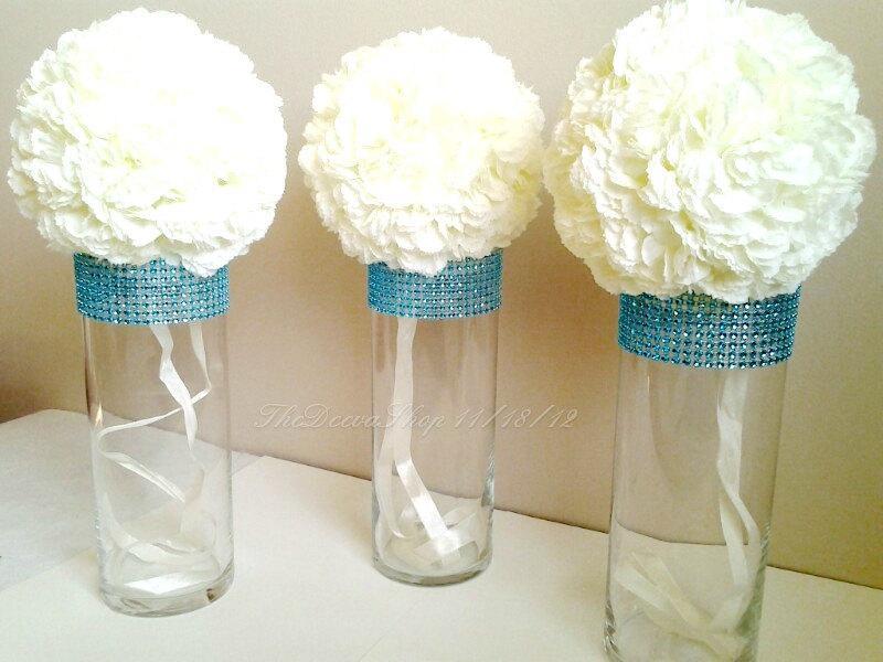 Centerpiece Cylinder Vase Lot Turquoise Teal Bling Rhinestone