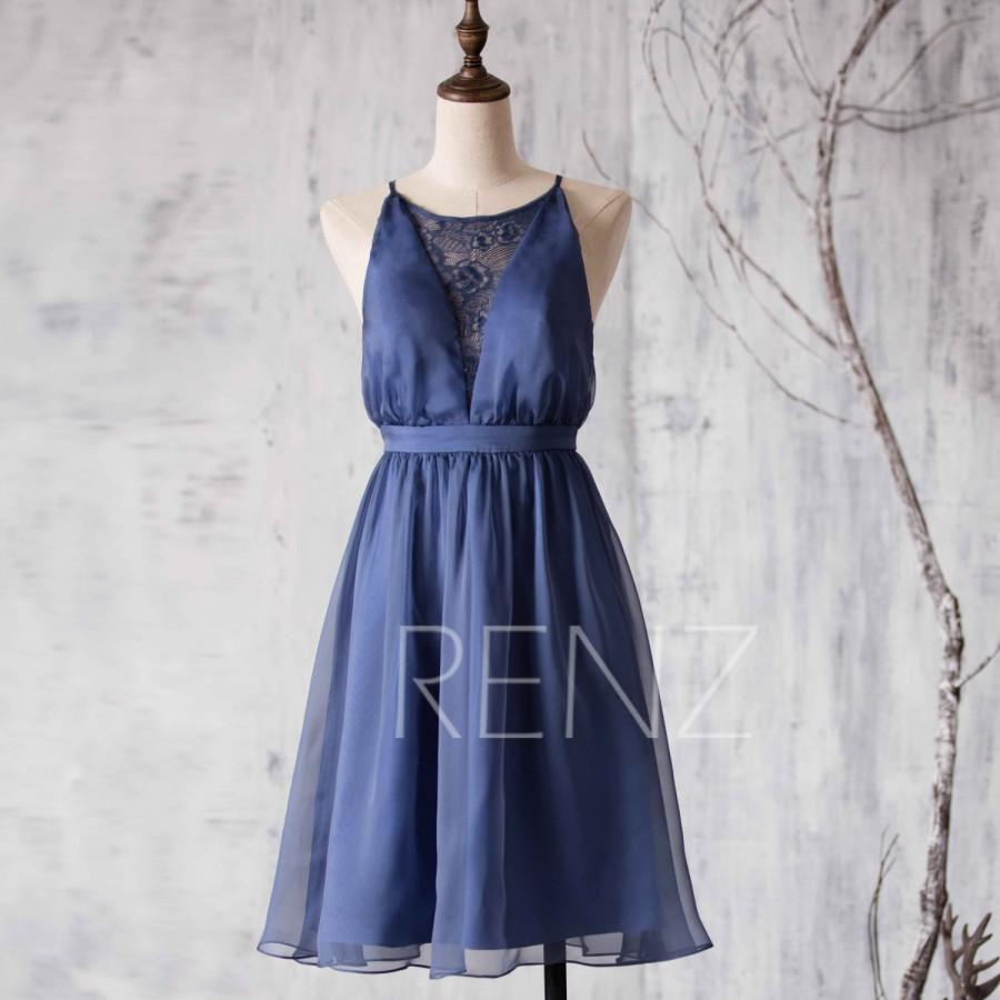 Свадьба - 2015 Dark Blue Bridesmaid dress, Lace neck Wedding dress, Spaghetti Strap A line Formal dress, Open Back Short Prom dress knee length (L015)
