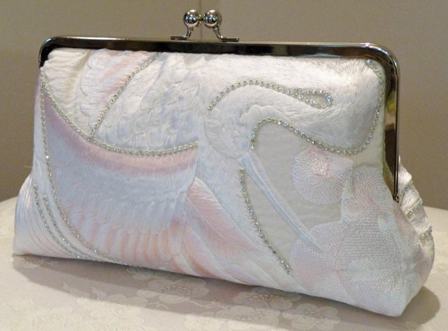 Mariage - 10 inch Crystals Crane Bridal Clutch/Bag/Purse..Long Island Bride/Wedding Gift/Silk Kimono/Ivory/Blushing Pink Feathers Ready To Ship/OOAK