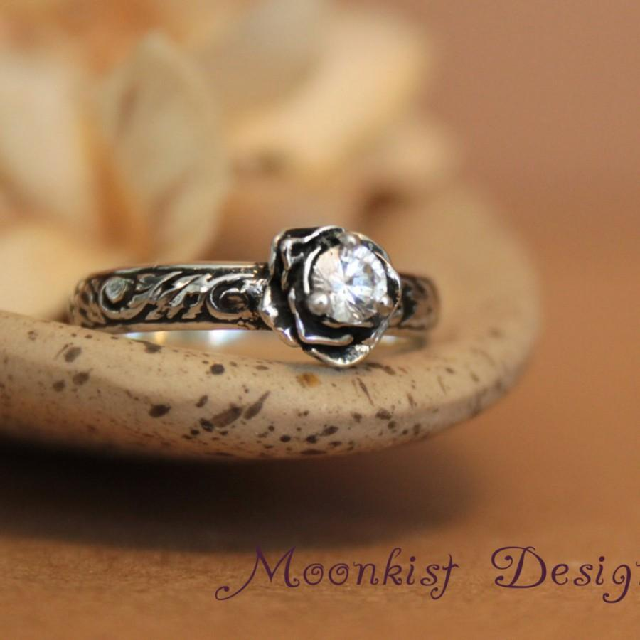 زفاف - Moissanite Rose Engagement Ring with Pattern Band - Sterling Silver Floral Commitment Ring - Floral Promise Ring - Tendril and Vine
