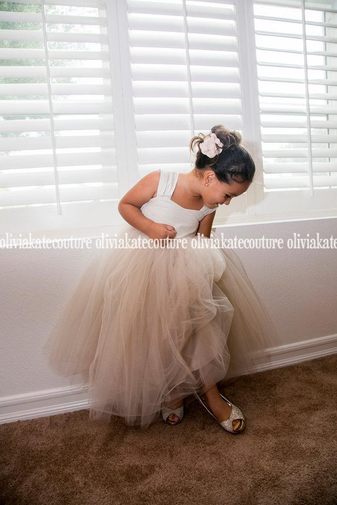 زفاف - Rustic Weddings Champagne Flower Girl Dress