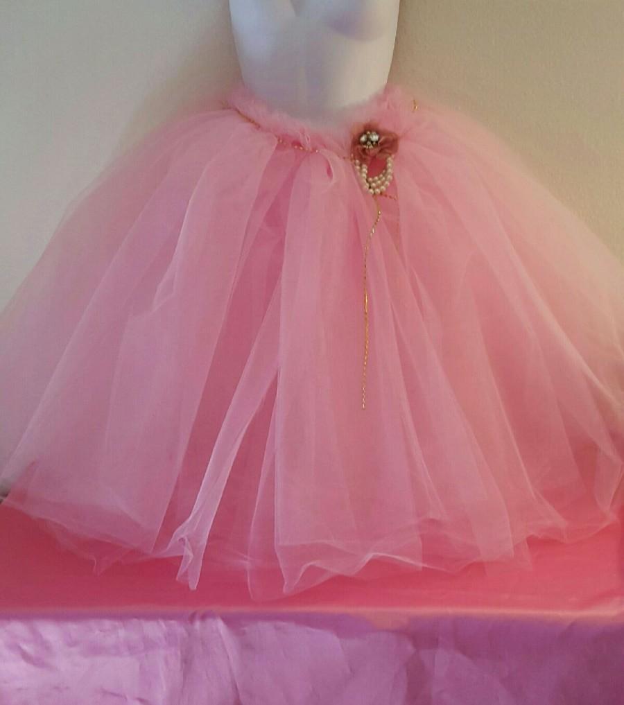 Свадьба - Pink Crystal Pearl Tulle Tutu Tea Length Or Midi Ballgown Skirt Party Wedding Bridal Belly Dance Party