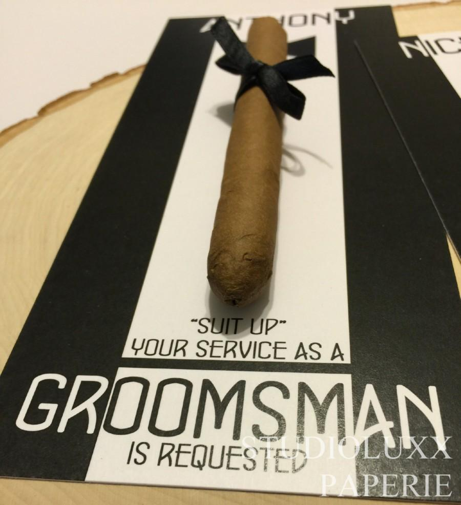 Hochzeit - Cigar Card Goomsman Best Man Your Service is Requested. A way to ask
