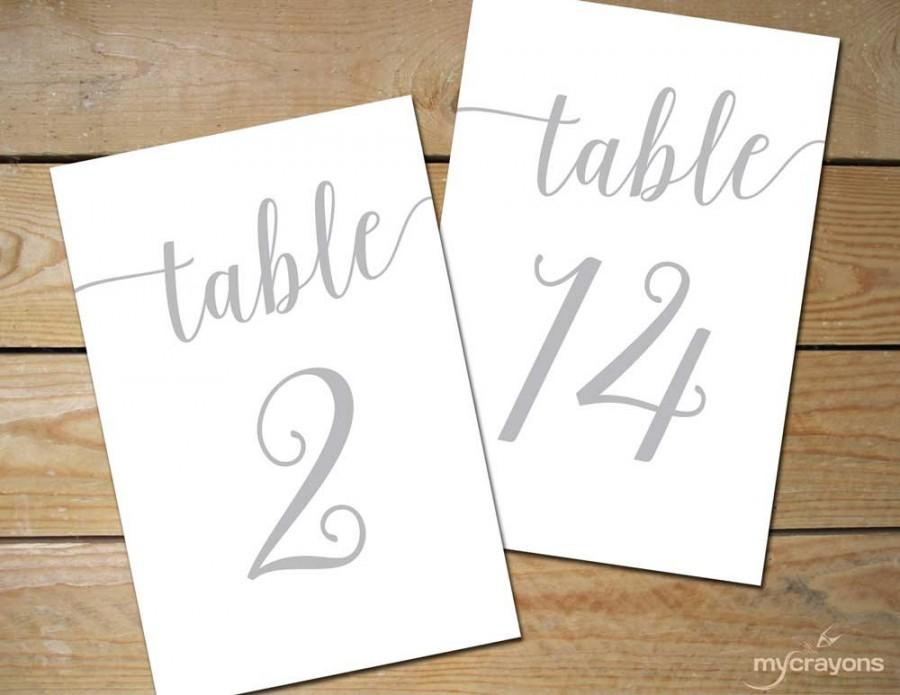 silver wedding table numbers 1 30 instant download bella script