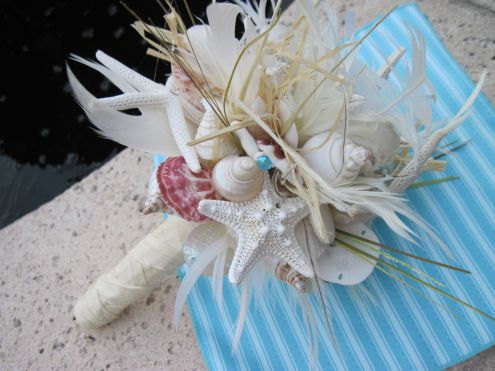 Свадьба - Go Natural Seashell Bouquet with Raw Silk and Lots of Sea Life