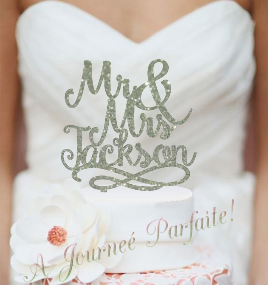 Script Mr And Mrs Last Name Wedding Cake Topper Personalized With Elegant Custom Acrylic AJP24