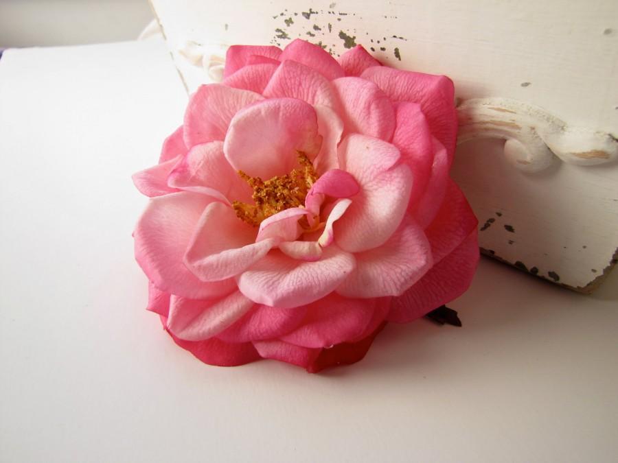 Mariage - Realistic Pink Wedding Hair Flower Rose