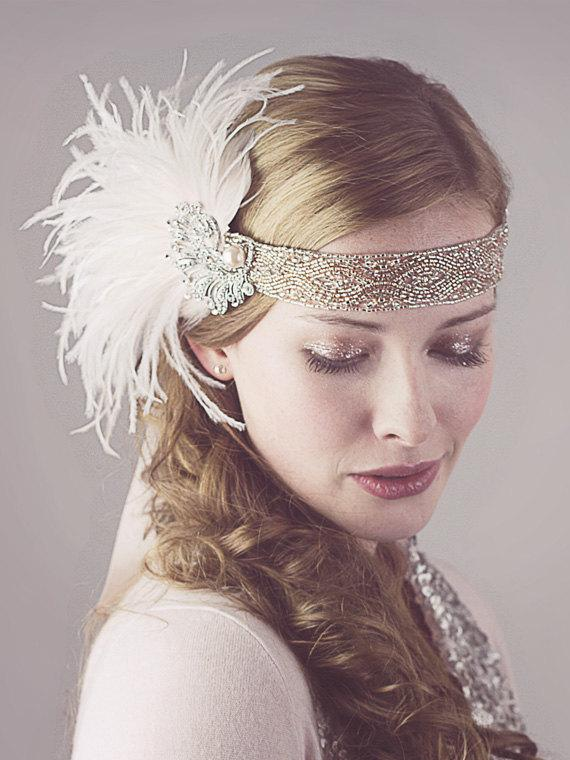Mariage - Peaches And Cream Ostrich Feather Flapper Headband Silver And Antique Gold Great Gatsby Style