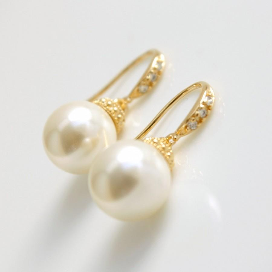 Gold Pearl Drop Earrings Bridal Jewelry Wedding Dangle Bridesmaid Lucy