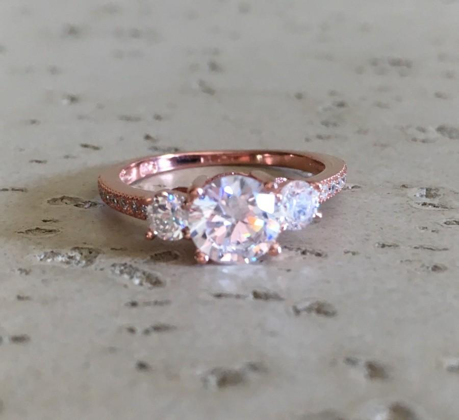Rose Gold Anniversary Ring Three Stone Ring Engagement Ring
