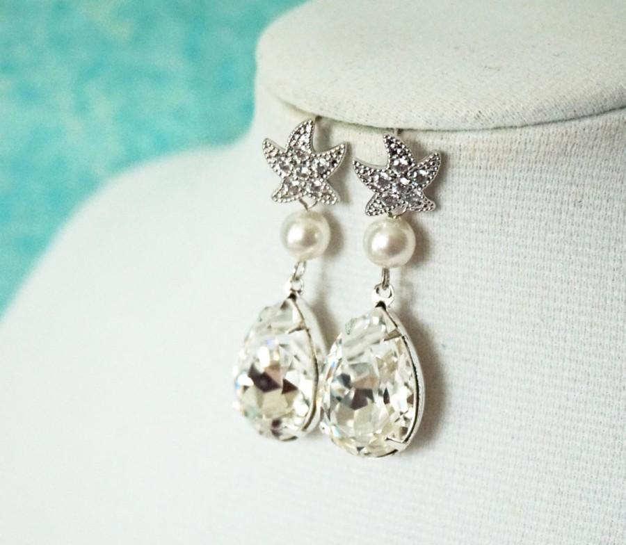 Starfish Cubic Zirconia Earrings Swarovski Crystal Teardrop Gift For Her Bridal Beach Wedding Bridesmaids Silver