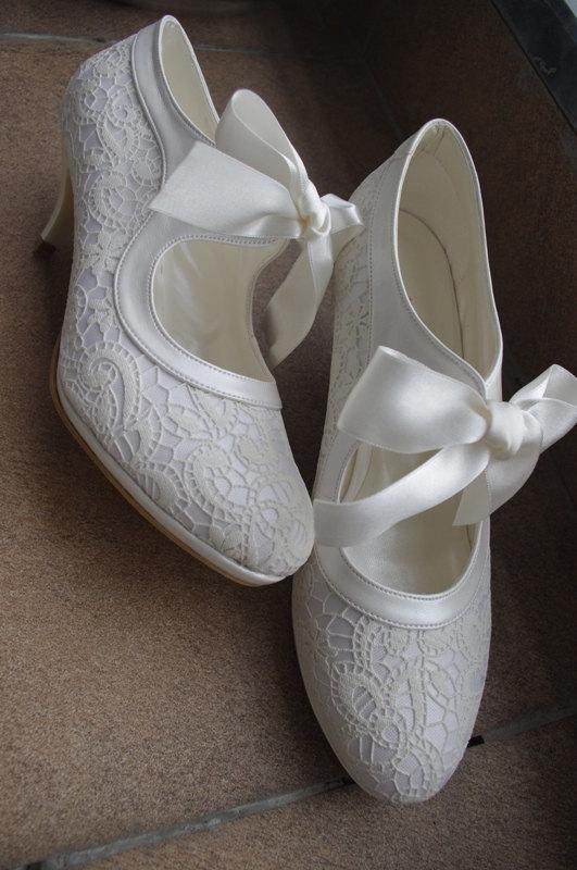 Wedding Shoes Bridal Handmade Salsa Dance FRENCH GUIPURE Lace Ivory Shoe Designed Specially GIFT Pantyhose 7011