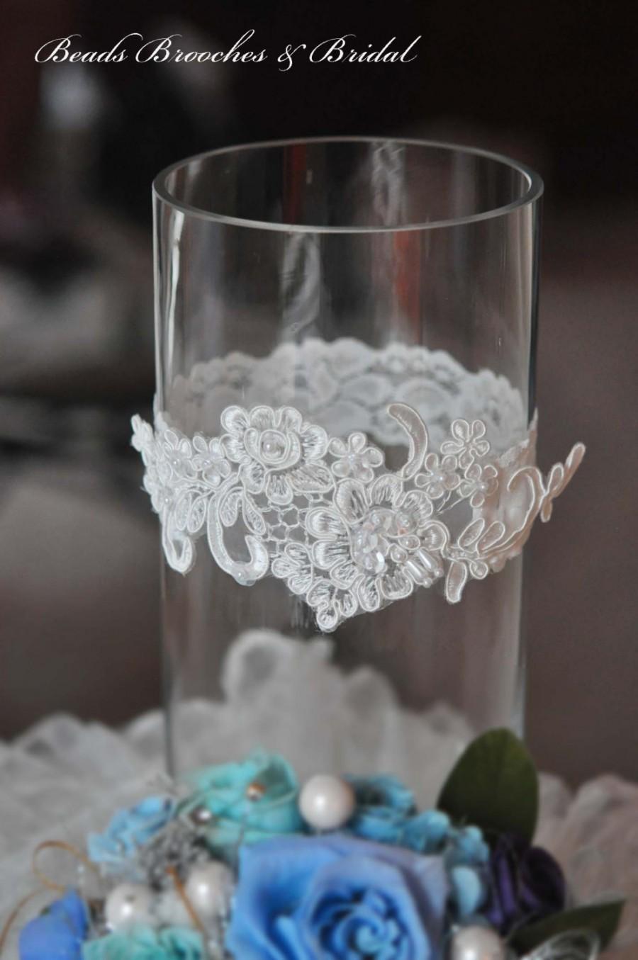 Hochzeit - Ivory Wedding Garter, Lace Wedding Garter, Bridal Garter, Ivory Garter, Wedding Garter, Ivory Garter, White Wedding Garter