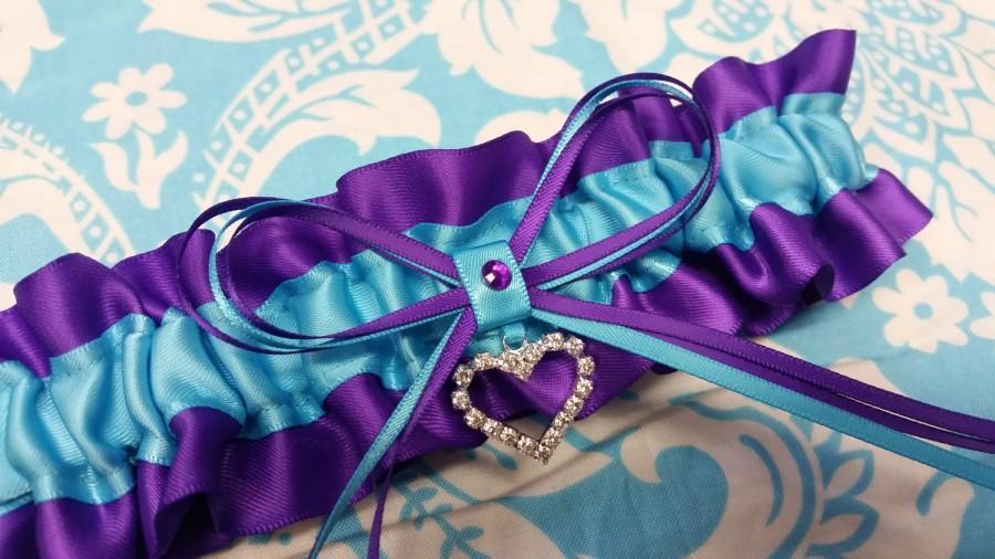 Свадьба - Wedding Garter SINGLE or SET, beautiful  purple and turquoise blue satin  with silver tone heart, crystal garter