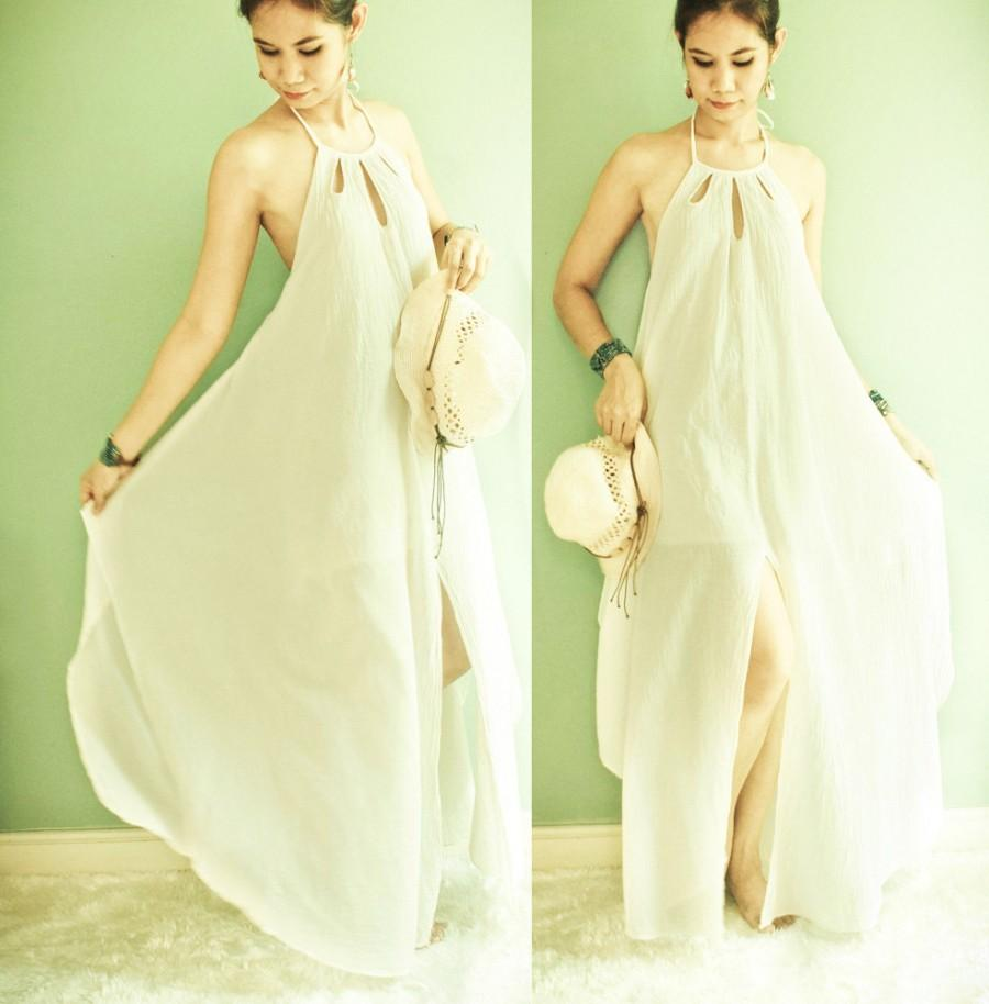 Mariage - Halter Maxi Cotton Dress in Off White, Boho Rustic Cotton Dress