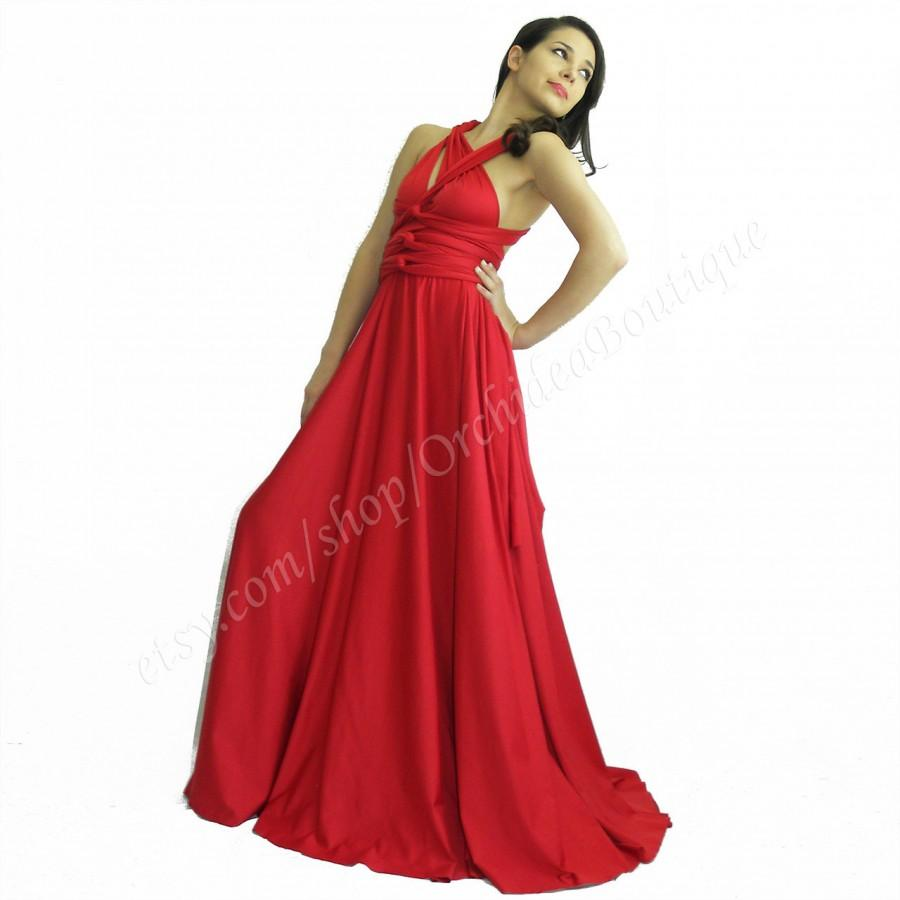 Wedding - Bridesmaids Convertible Infinity Wrap Chameleon Maxi  Red Women  Evening  Dresses Holiday Fashion plus size maternity