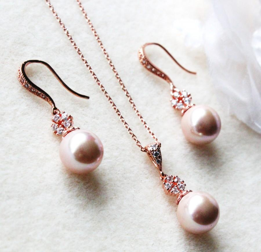Rose Gold Bridal Jewelry Set Pink Blush Pearl Wedding Jewelry Set