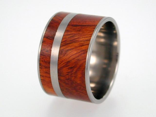 Mariage - Wide Ironwood Wood inlay Titanium Ring or Wedding Band - jer-023, Ring Armor Included