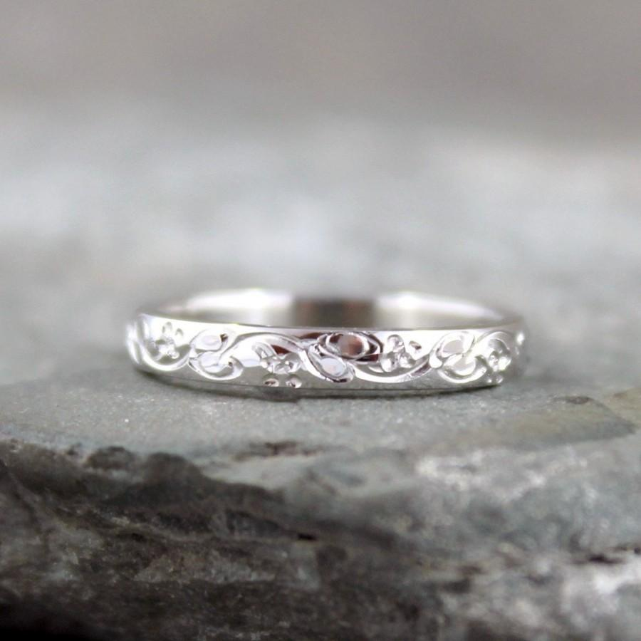 Свадьба - 14K White Gold Wedding Band - Design Band - Stacking Ring - Pattern Wedding Band - White Gold Wedding Band
