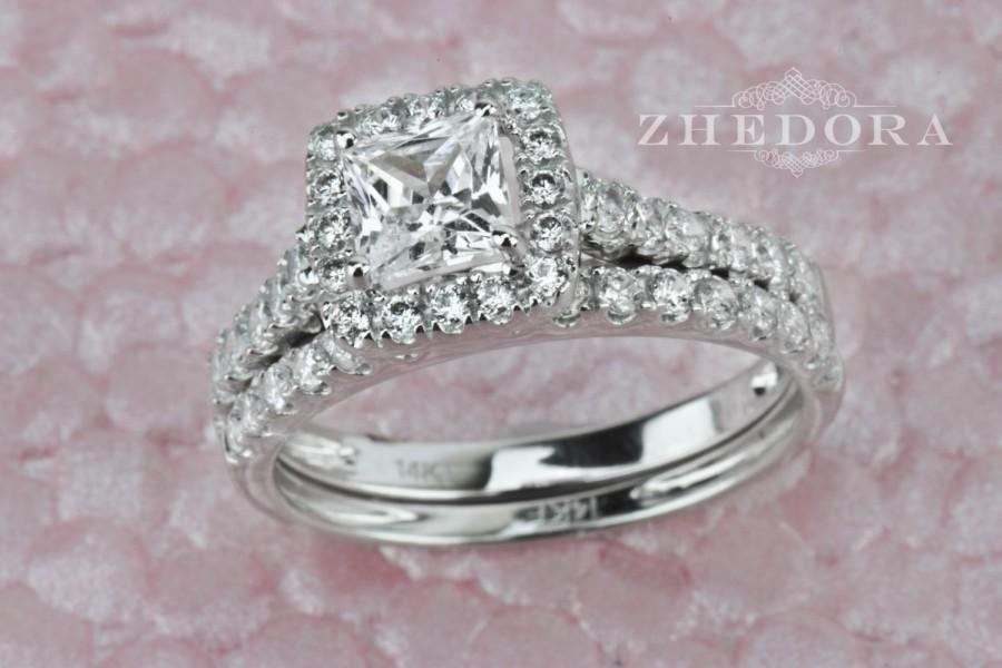 1 60 Ct Princess Cut Engagement Bridal Ring Band Set Solid 14k White Gold Lab Created Diamond