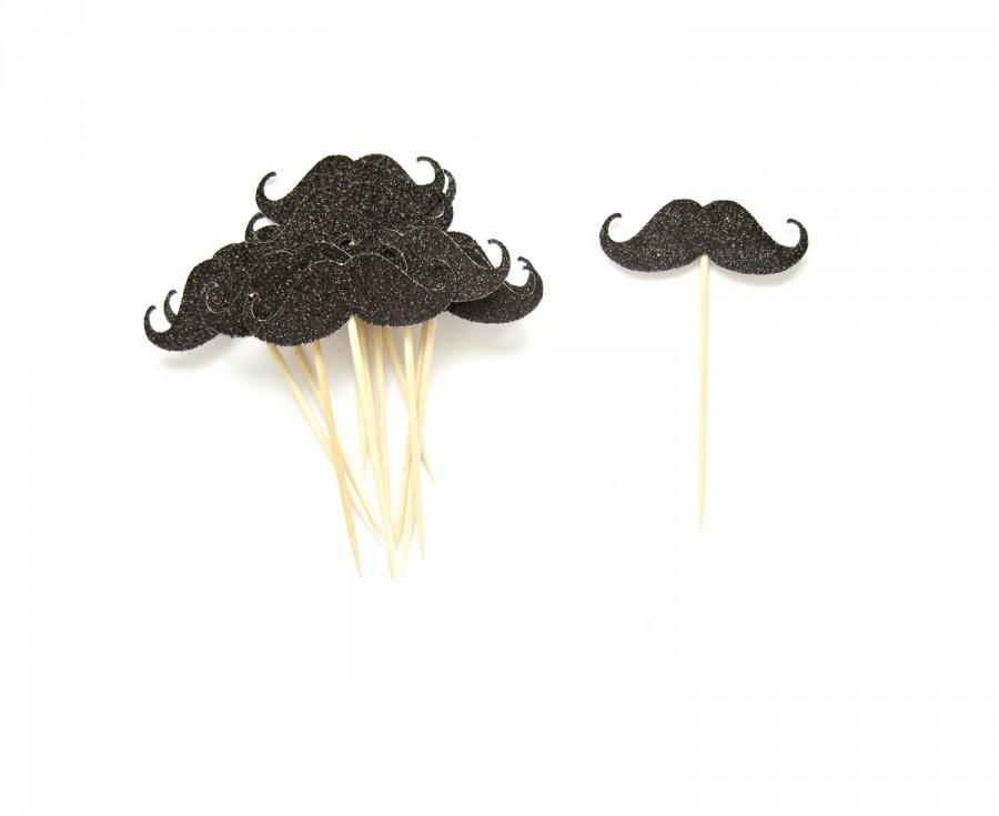 Wedding - 12 Black Glitter Mustache Cupcake Toppers - Birthday Topper, Boy Birthday Party, Mustache party, Little Man Birthday
