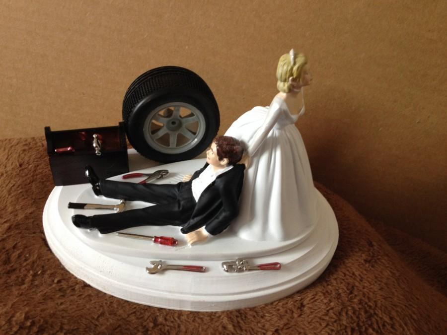 Düğün - Cake Topper Wedding Day Bride Groom Funny  Auto Mechanic Grease Monkey Themed Automotive Garage Shop Tools