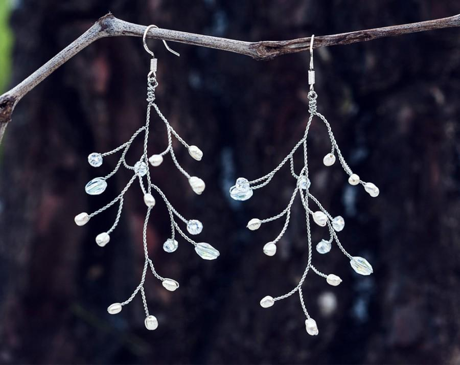 Silver Wire Earrings, Tree Branch Earrings, Wire Wrapped Jewelry ...