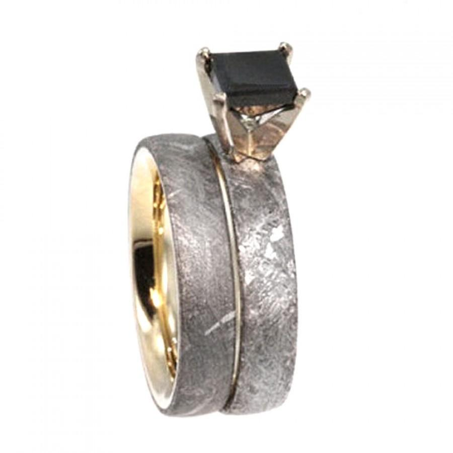 band three stone set ring engagement meteorite gold products wedding rings and fossil rose