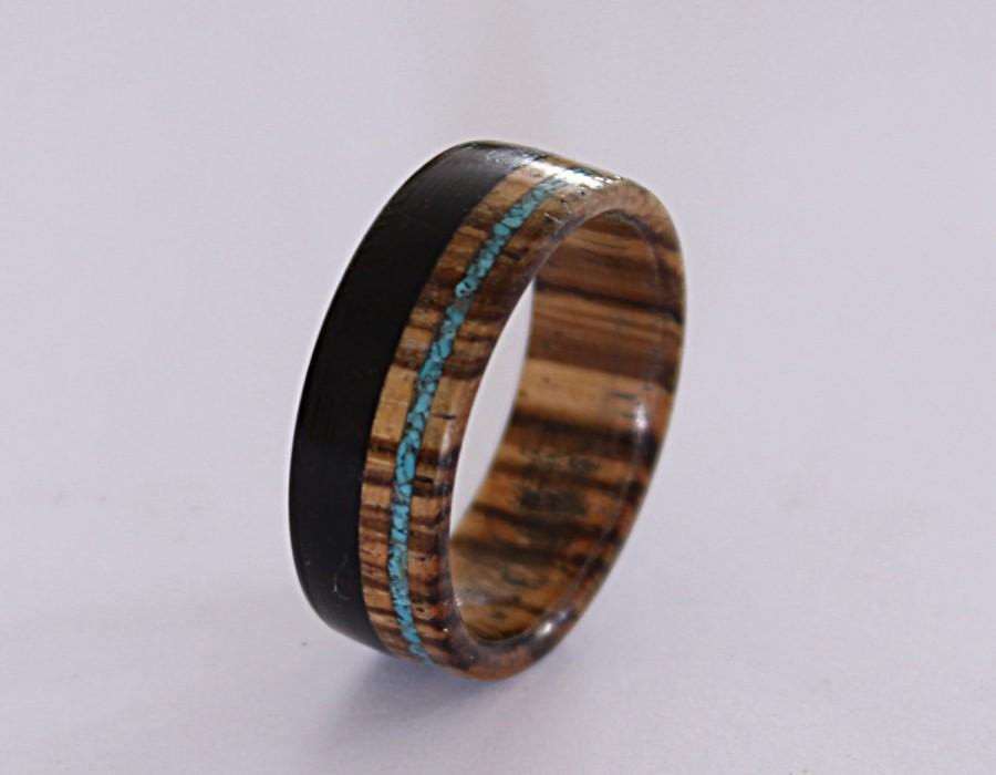 Mariage - Wooden ring for men made from zebrano wood, inlaid with ebony wood and turquoise