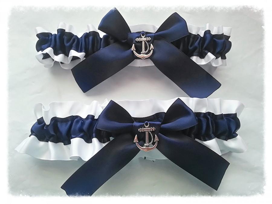 Свадьба - Wedding Garter SET , beautiful  navy and white or ivory Nautical themed garter set