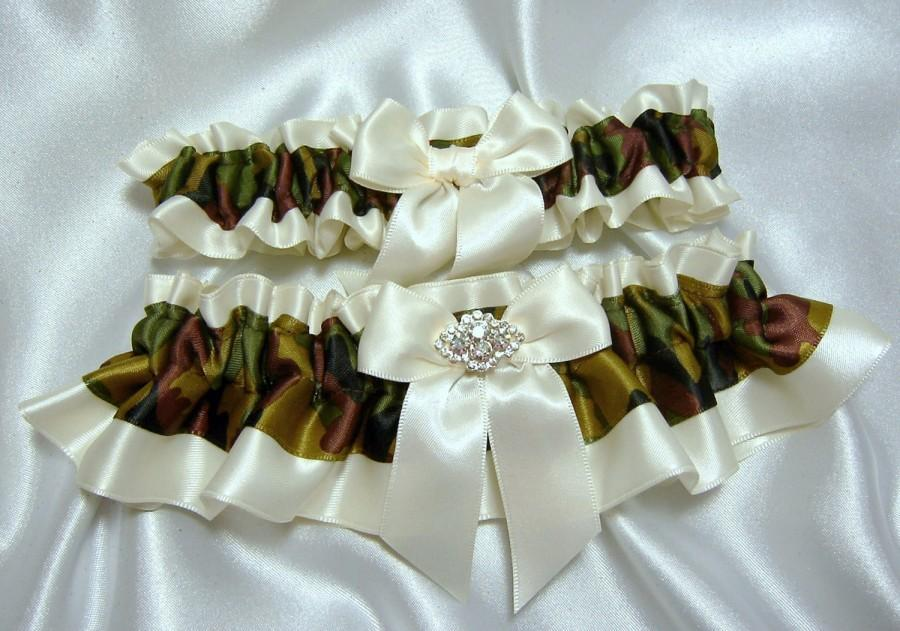 Свадьба - Camouflage Satin Wedding Garter Set w/ Crystal Embellishment  - Toss Garter Included - Pick Ivory OR White