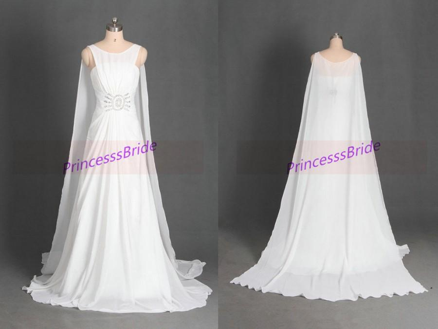 2015 long chiffon wedding gowns with sweep train unique for Simple wedding dress cheap