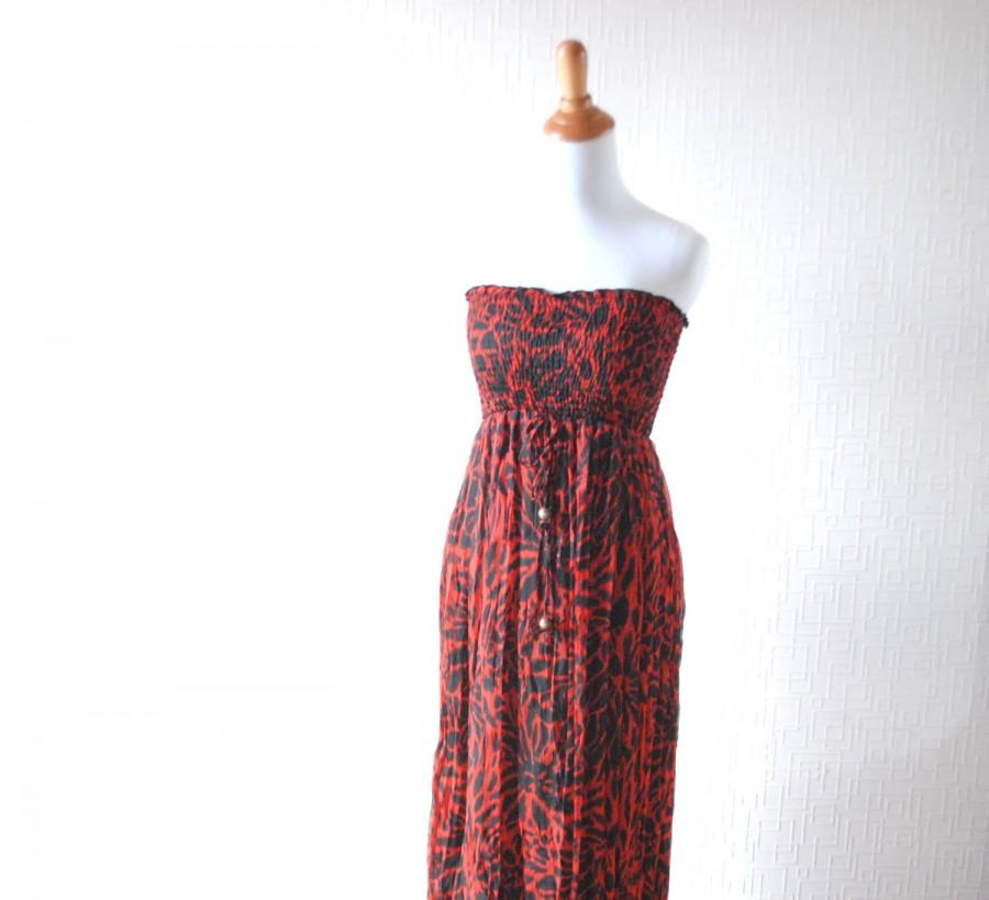 RED CHIFFON Dress ~ Leopard Dress ~ Maxi Dress ~ Summer Dress ...