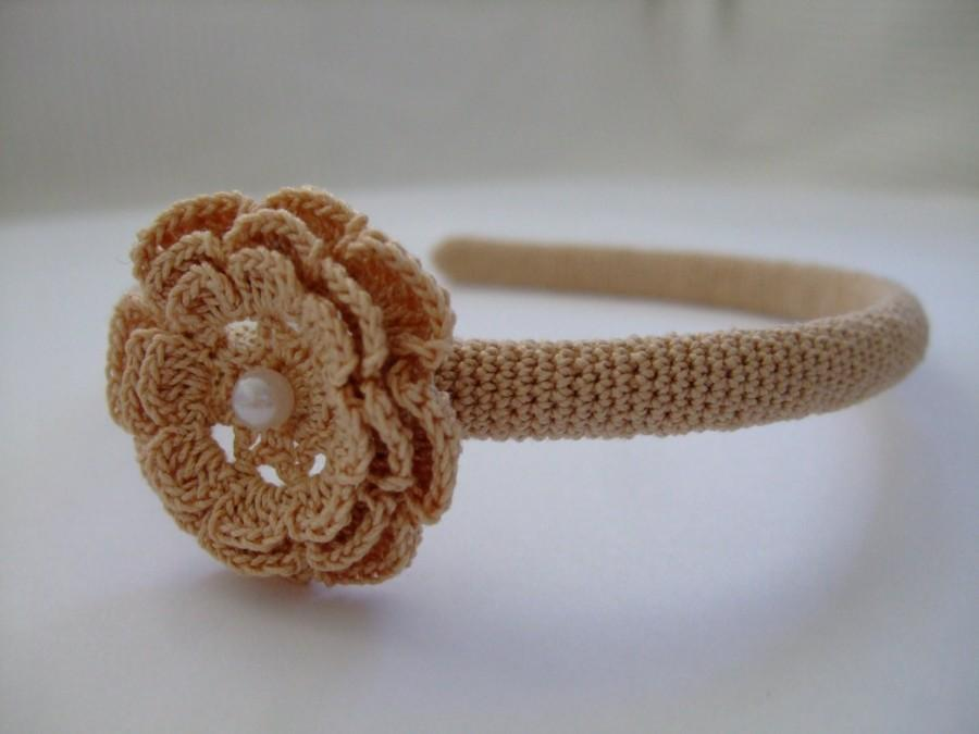 Mariage - Shabby Chic Wedding Vintage Headpiece,Crochet Hair Band,Boho Crocheted Headband,Crochet Flower,Her Best Gift,Rustic Weddings New Trend 2015
