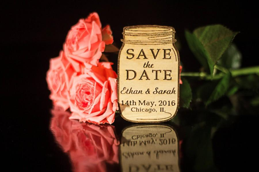 Hochzeit - Personalized Save the Date Magnet Set Wood Save the Date Wedding Save the Date Wedding Accessories Wooden Tags Wedding favors Mason Jar