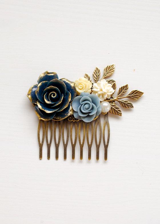 Mariage - Dark Blue Rose Flower Hair Comb Gold Dark Blue Dusky Blue Ivory Rose Gold Leaf Hair Comb Something Blue Wedding Headpiece Bridal Hairpiece