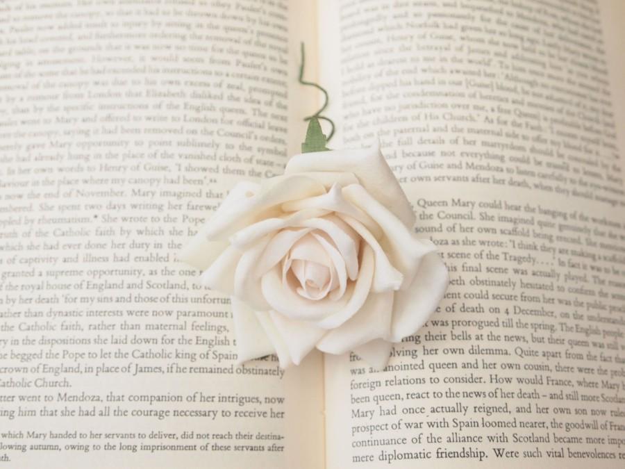 Mariage - Beautiful Bridal White Rose Hair Flower or pin on Corsage Wedding Flower